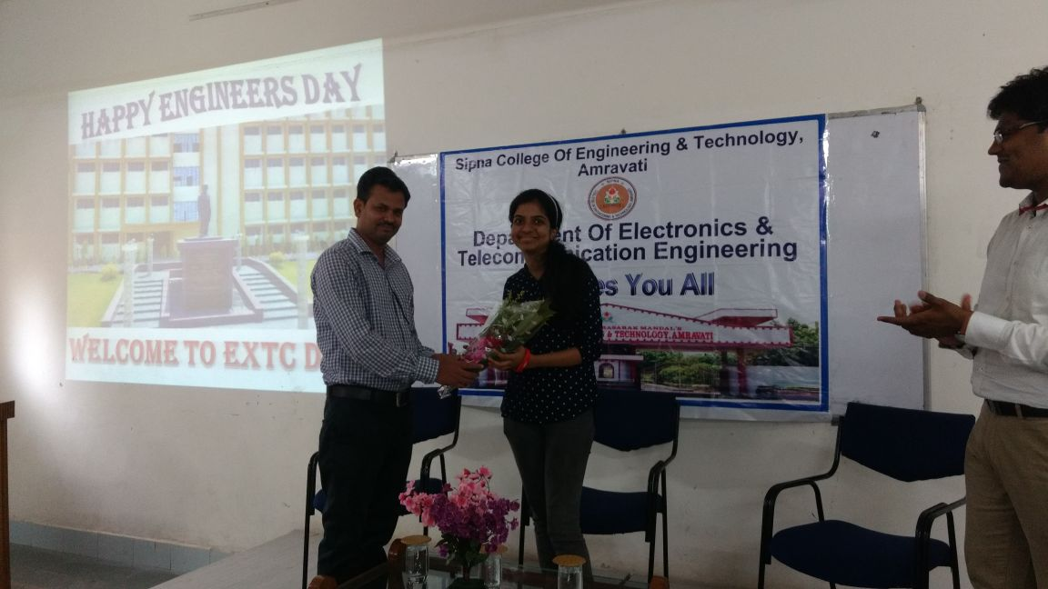 On Occasion of Engineer's Day  Ms.Sonal Baberwal[Alumni-first winner of the prestigious Kalpana Chawla scholarship from the International Space University (ISU)] interacted with Students