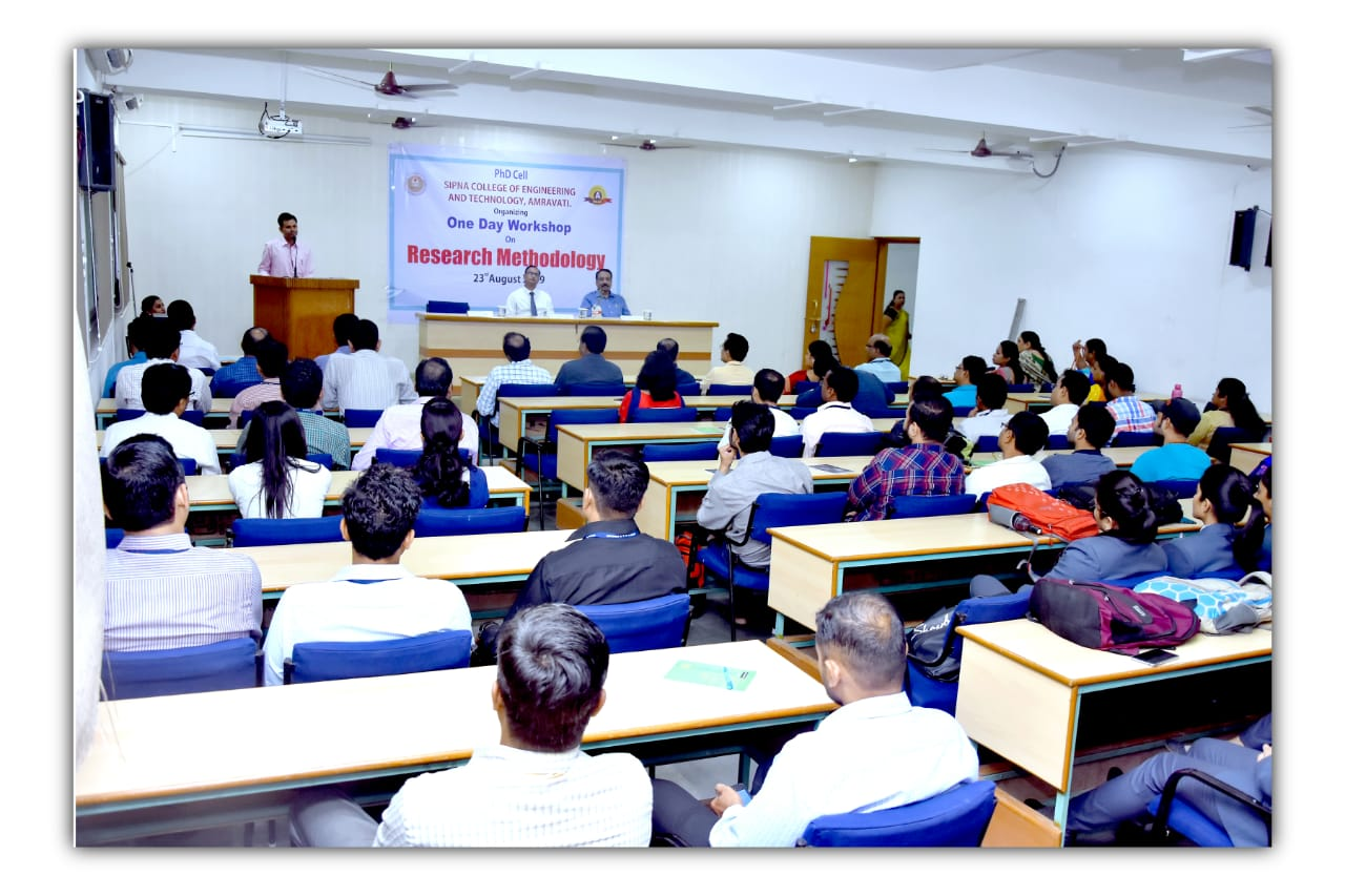 "One day workshop organised by Ph.D. cell Sipna C.O.E.T, Amravati titled-"" Reseach Methodology"" on 23rd Aug 2019"